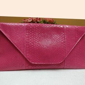 Handbags - Python Snake Fuschia Pink Oversized Clutch